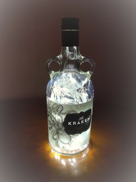 Upcycled Kraken Black Spiced Rum Glass Bottle, Lamp ~ 40 LED Lights