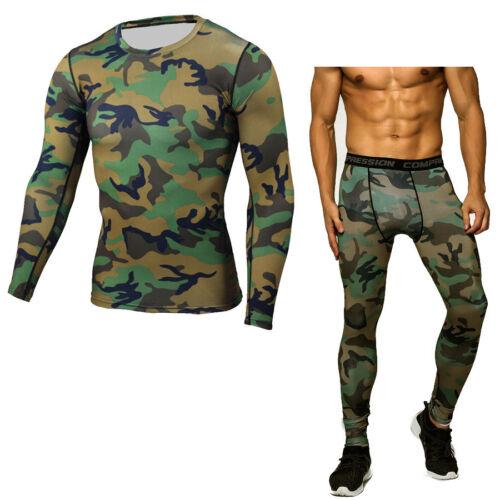 Long Pant Leggings fitness Fashion Men/'s Sportwear Sets Joggers Tops Shirts