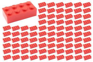 100-Neue-Lego-2x4-rote-Steine-ID-3001-lose-Teile-Star-Wars-City-Stadt