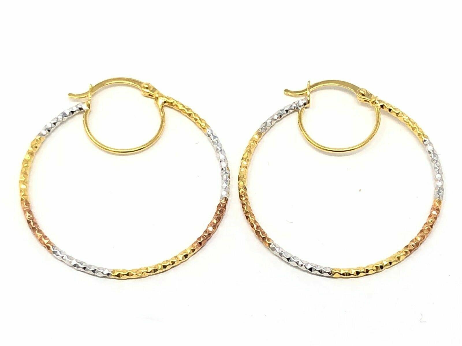 "Italy 14K Yellow Gold Hollow Diamond Cut Round Hoop Loop Earrings 1/"" 3.1mm 2g"