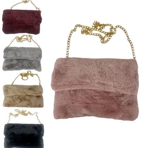 Womens faux fur stylish sideclutch handbag Shoulder Fluffy Bag Gold Chain Zip