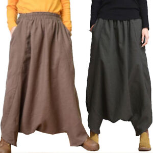 Fashion-Women-Linen-Casual-Trousers-Loose-Fit-Long-Pant-Elasticated-Waist-Pants
