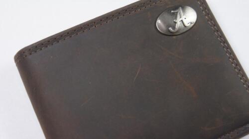 ZEP PRO Alabama Crimson Tide RTR Crazy Horse Leather Bifold Wallet Tin Gift Box