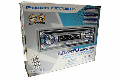 Power Acoustik MCD-51B Marine CD/MP3/WMA Player Built-in Bluetooth Front USB AUX