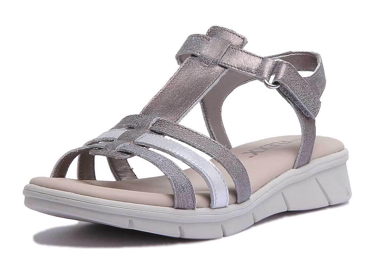 The Flexx Bubu Set Damens Leder Sandales Silver Gold Strappy Wedge Sandales Leder Größe UK 3 - 8 abb783