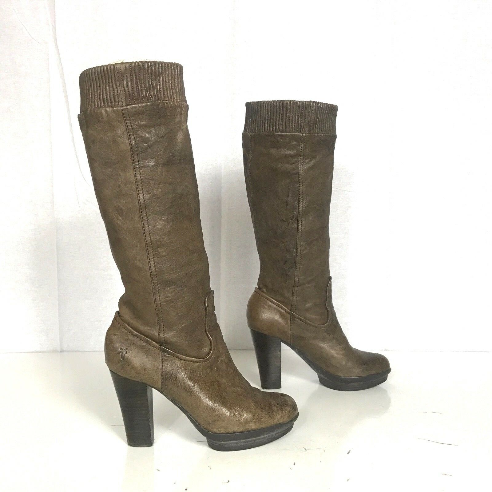 FRYE size 8 MIMI MIMI MIMI SCRUNCH Taupe Leather Women's 76735 shoes Knee High Heel Boots 647428