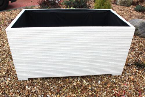 DECKING TROUGH cm WIDE EXTRA TALL WOODEN GARDEN PLANTER White 100x50x53