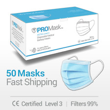 50 Pcs Face Mask Medical Surgical Dental Disposable 3 Ply Earloop Mouth Cover