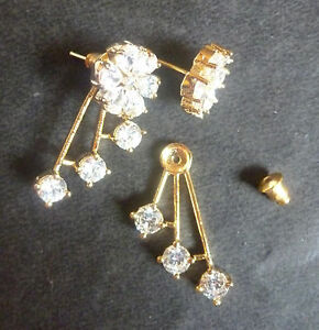 Gold Plated 2 Types Design Ad Cz Indian Top Earrings Set Ebay