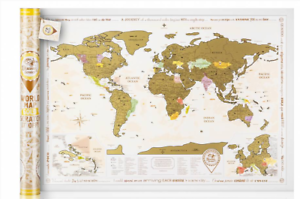 Big gold scratch off world map with tube detailed laminated poster image is loading big gold scratch off world map with tube gumiabroncs Images
