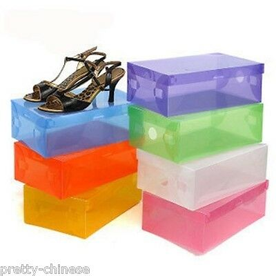 Fashion Transparent Color Plastic Shoes Storage Boxes Foldable Stackable Large