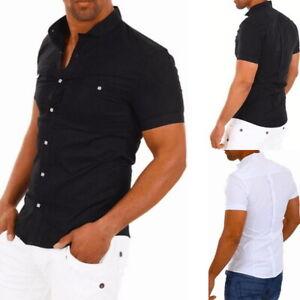 Nouvelle-Homme-Casual-Slim-Fit-Bouton-Chemise-Plain-Manches-Courtes-Shirts