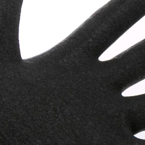 4 PAIRS OF GLOVES MEDIUM WORK GARDEN BLACK FLEXIBLE POLYESTER LATEX GRIP BRICKY