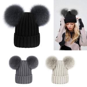 Women Ladies Winter Knitted Beanie Hat with Fluffy Double Fur Bobble ... e2c48637461