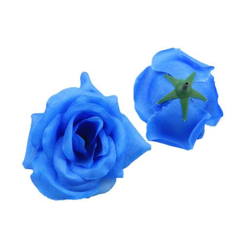 30//50Pcs 8cm Rose Flower Heads Artificial Silk Party Wedding For Hair Clip Decor