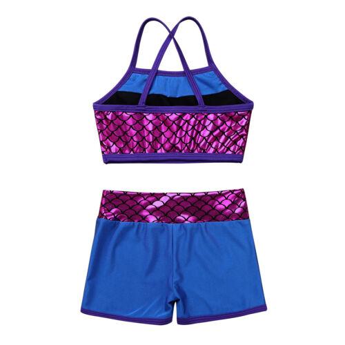 Girls 2-Piece Dance Sport Outfit Crop Top+Booty Shorts Gymnastics Leotard Sets