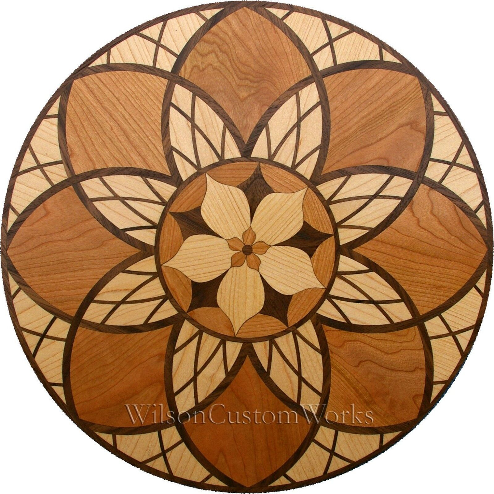 24  Wood Floor Inlay 238 Piece Cathedral Flower kit DIY Flooring Table Box