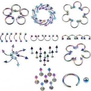 Details About 12 Pc Stainless Steel Rainbow Labrets Bcr Belly Lip Nipple Rings Piercing A318