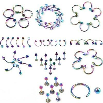 12 Pc Stainless Steel Rainbow Labrets Bcr Belly Lip Nipple Rings Piercing A318 Ebay