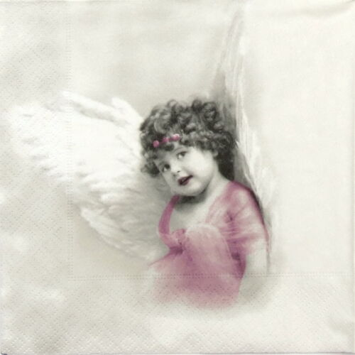 4x Paper Napkins for Decoupage Craft Sagen Vintage Angels in Pink