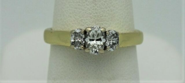 Dev Valencia 18k YG Oval 1CTW 3 Stone Diamond Ring W/ WG Head - PRICE REDUCED!!