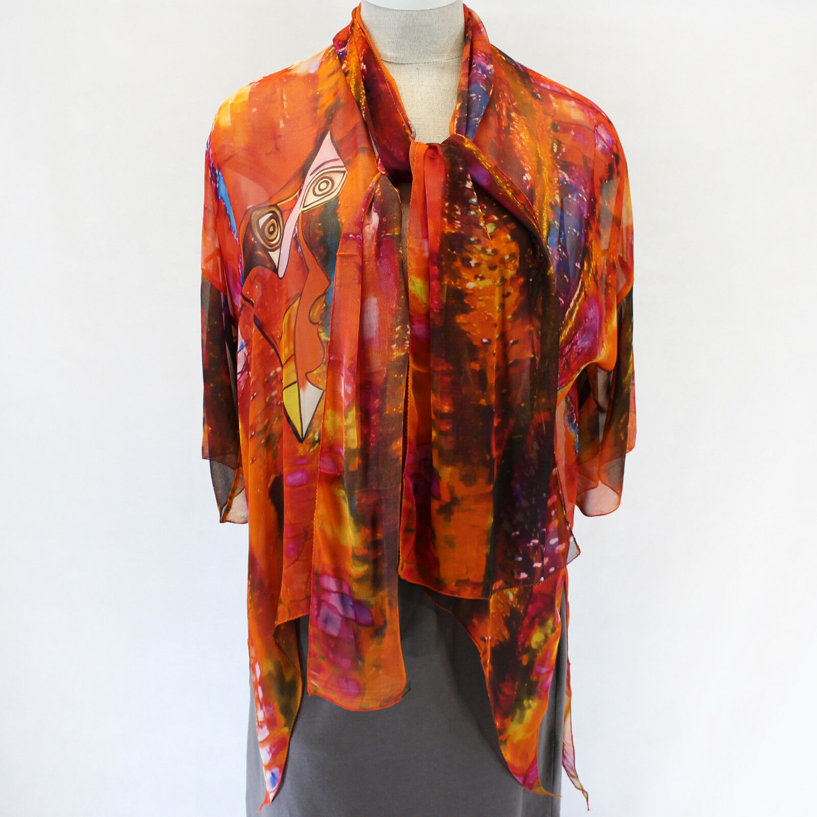 NEW Dilemma Plus Picasso Inspirot 100% Silk Jacket Wrap Scarf Set fits XL 1X 2X