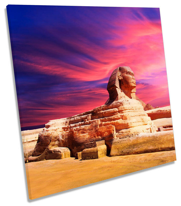 Sphinx Pyramid Egypt Sunset SQUARE BOX FRAMED CANVAS ART Picture