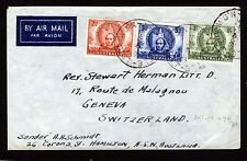 AUSTRALIA 1946 Air Mail Cover MITCHELL SET SG 216 - SG 218 to SWITZERLAND ? FDC?