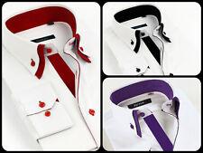 Mens Casual Double Collar Slim Fit Formal Shirt Italian Design Long Sleeve DC01
