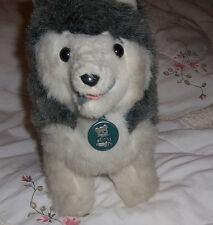 "Dakin Husky Dog Timberland Wolf w Plastic Tag Vintage 1977 11"""