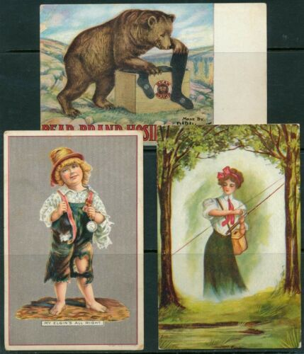 3 DIFFERENT ADVERTISING POST CARDS BQ1603