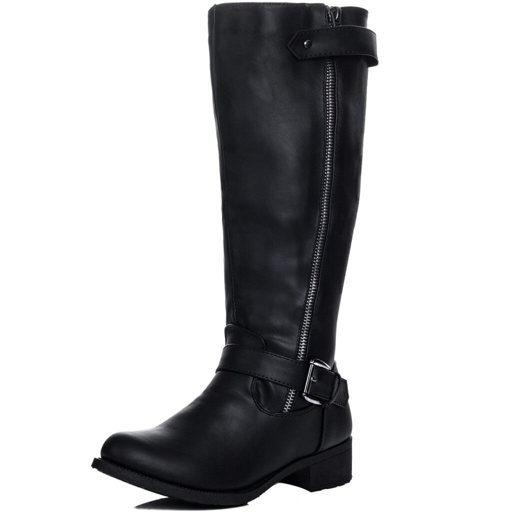 Damenschuhe Zip Adjustable Buckle Flat Knee High Tall Stiefel Sz 3-8