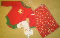 Nwt3-pc Christmas Outfit Ls Bodysuit; Pants And Booties 0-3 Months Reindeer