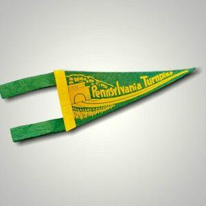 VINTAGE Pennant Flag Felt Pennsylvania Turnpike Green Yellow