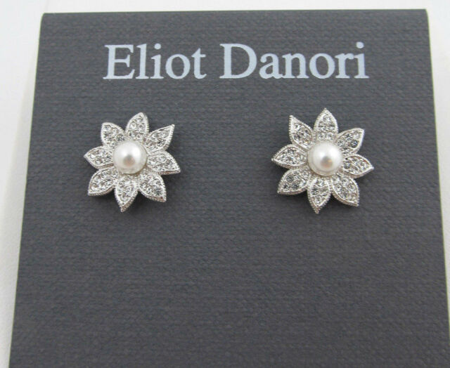 fbd6a0306 Eliot Danori by Nadri Silver Tone Faux Pearl Pave Floral Stud Earrings NEW