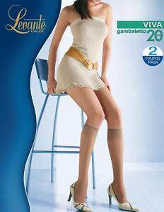 2 Paires Levante Collants Femme Viva Chaussettes 20 Den Genou Bas, Collants, Chaussettes