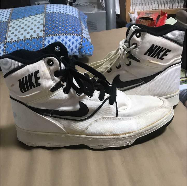 RARE Nike FORCE MOTRICE en Toile Noir et Blanc Homme paniers US11.5 du Japon