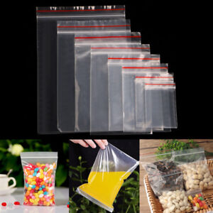 100-Grip-Resealable-Zip-Lock-Bags-Self-Seal-Clear-Plastic-Poly-Ziplock-Bag-9Size