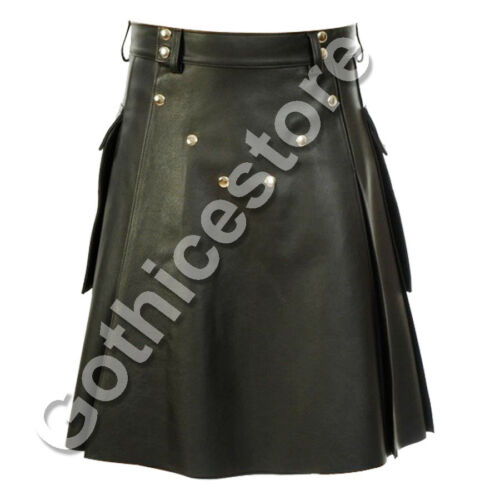 Mens Gothic Kilt Utility Kilt Black Genuine Leather Pocket Pleated Lined Tradit