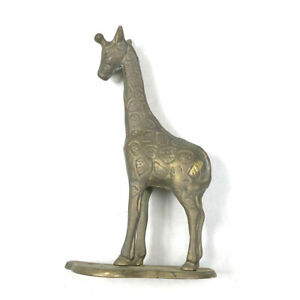 Brass-Vintage-Giraffe-Paperweight-Patina-Aged-Childs-Room-Decor-Animal