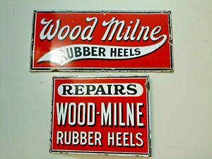 2 x Wood Milne Rubber Heels Emailschilder.