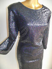 BN M&S GLAM NAVY BLUE SEQUIN SPARKLE DRESS CRUISE PARTY +2ml MONSOON PERFUME 20