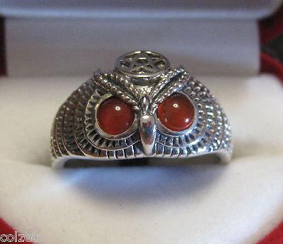 ILLUMINATI RING * carnelian * OWL PENTAGRAM * .925 silver by Peter Stone