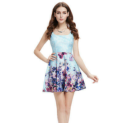 Ever Pretty  Fashion Floral Party Printed Square Neck Casual Dress 05427
