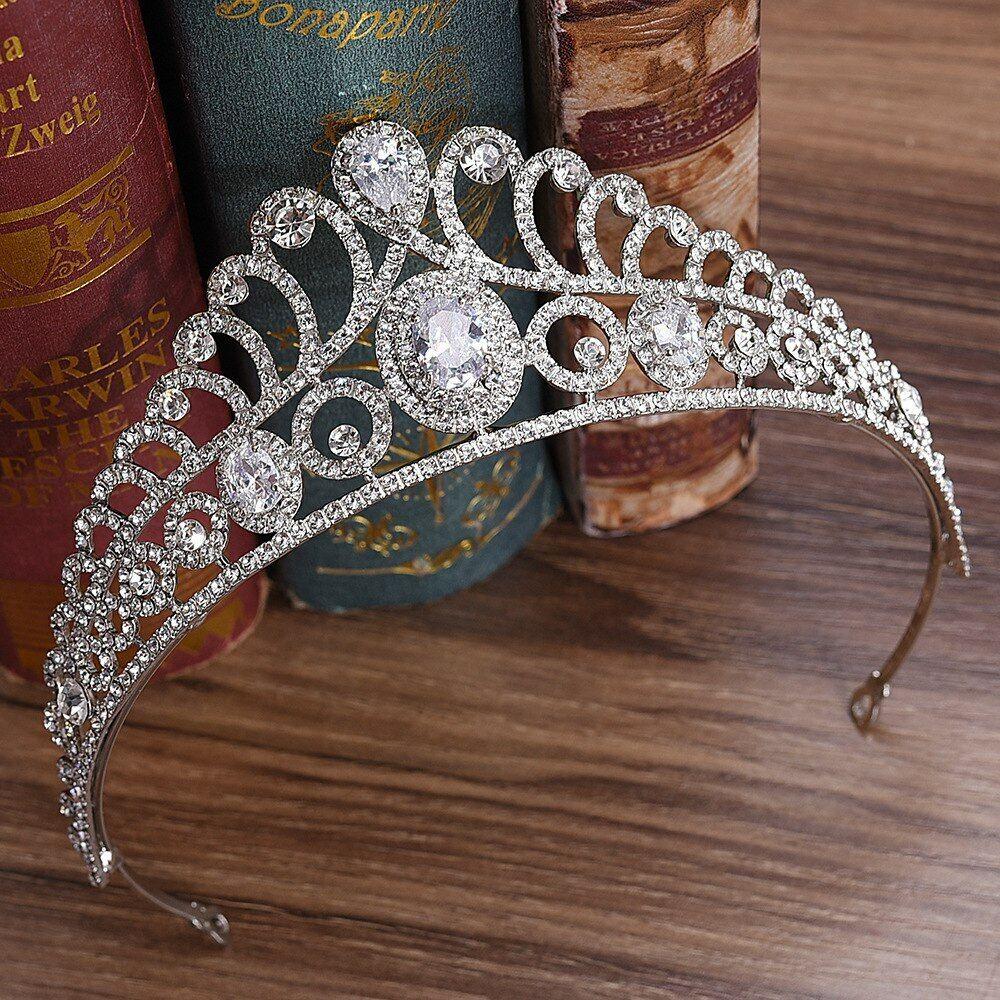 Brilliant Bridal, Wedding , Proms CZ Tiara Silver Plated Style T-046