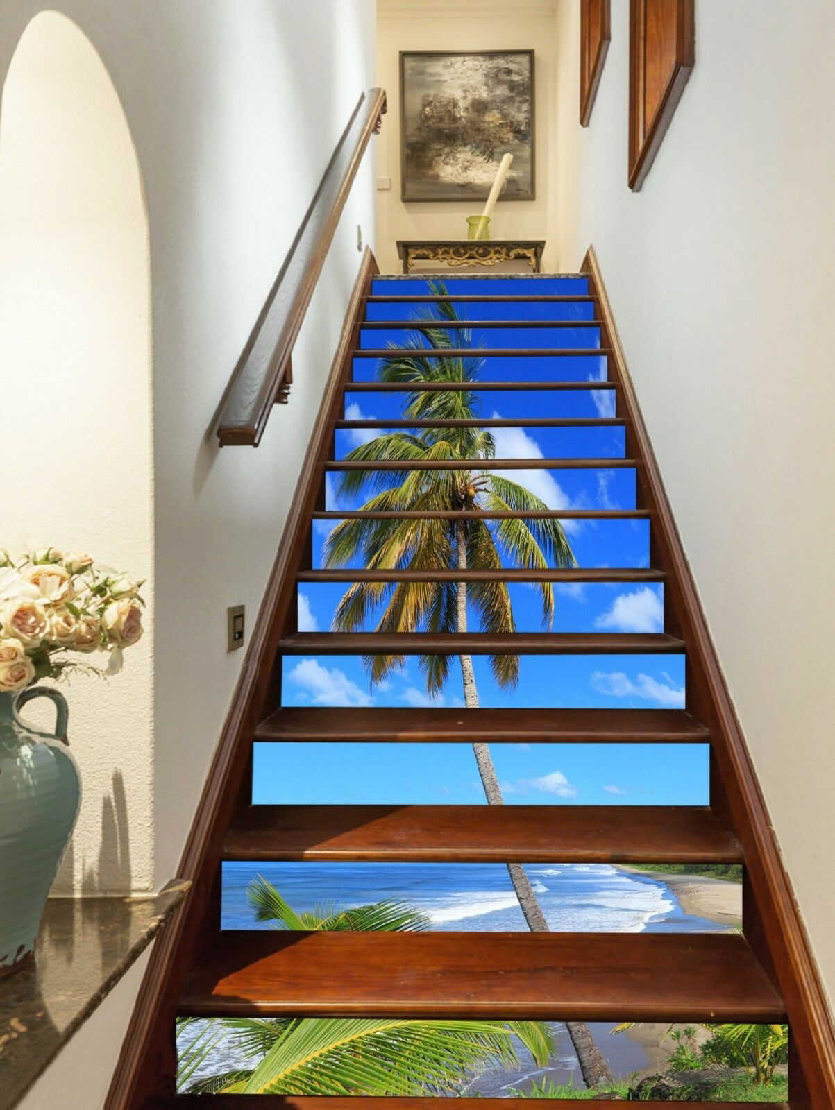 3D Strand Bäume 321 Stair Risers Dekoration Fototapete Vinyl Aufkleber Tapete DE