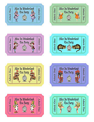 Alice in Wonderland 24 color party favors tea party tickets scrapbooking crafts