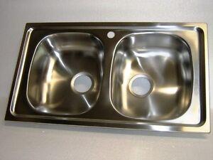 Dettagli su Lavello per cucina inox incasso 2 vascchette
