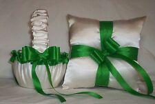 IVORY CREAM SATIN / KELLY GREEN TRIM FLOWER GIRL BASKET & RING BEARER PILLOW