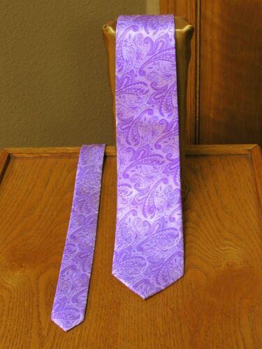 Wisteria Paisley Neck Tie Mens Satin Tuxedo Wedding Prom Groom Suit Lilac